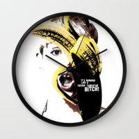 miley cyrus Wall Clocks featuring Miley Cyrus  by franziskooo