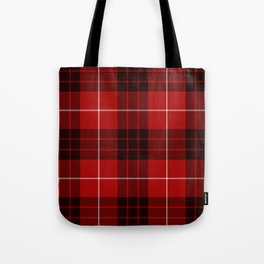 Dark Red Tartan with Black and White Stripes Tote Bag