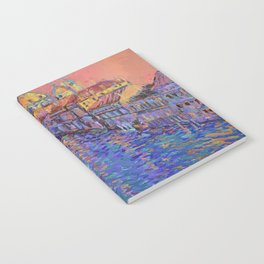 Sunset Over The Grand Canal In Venice -palette knife urban city landscape by Adriana Dziuba Notebook
