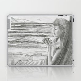 A Cool, Quieting Thought (Girl by tree on the beach) Laptop & iPad Skin