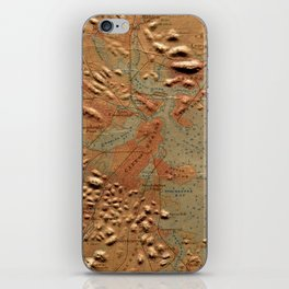 Vintage Relief Map of Boston MA (1874) iPhone Skin