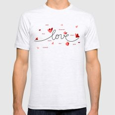Love, Butterfly Hearts & Text Unique Valentine Mens Fitted Tee SMALL Ash Grey