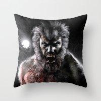 werewolf Throw Pillows featuring Werewolf by Joe Roberts