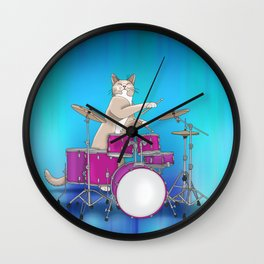 Cat Playing Drums - Blue Wall Clock