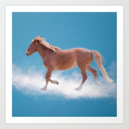 Walking on clouds over the blue sky - version #decor #society6 #buyart Art Print