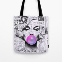 popart Tote Bags featuring Marilyn Newspaper Headlines PopArt by cvrcak