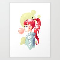 bubblegum Art Prints featuring Bubblegum by Freeminds