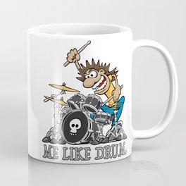Me Like Drum. Wild Drummer Cartoon Illustration Coffee Mug