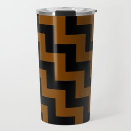Black and Chocolate Brown Steps LTR Travel Mug