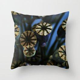 Poppy Flower Pods Bouquet Throw Pillow