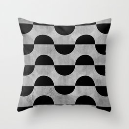Black abstract 60s circles on concrete - Mix & Match with Simplicty of life Throw Pillow