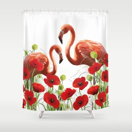 Two flamingos in Poppies field Shower Curtain