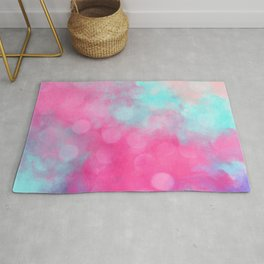Abstract teal bright pink bokeh clouds Rug
