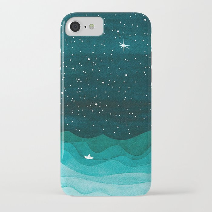 starry ocean, teal sailboat watercolor sea waves night iphone case
