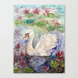 swan in lily pond Canvas Print