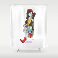 bass Shower Curtains featuring Bass Case by Judith Chamizo