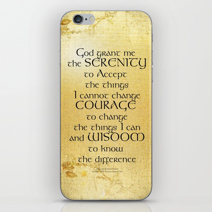 Serenity Prayer Kelt on Yellow iPhone Skin by peace_gifts | Society6