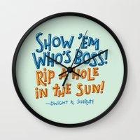 dwight schrute Wall Clocks featuring Dwight K. Schrute by Josh LaFayette