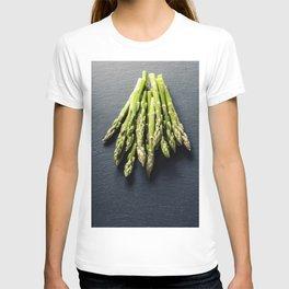 Bunch of fresh asparagus on slate background T-shirt