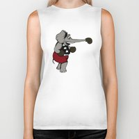 boxing Biker Tanks featuring Boxing Elephant by Adam Metzner