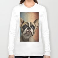 french Long Sleeve T-shirts featuring French bulldog, french flag ! by Life on White Creative