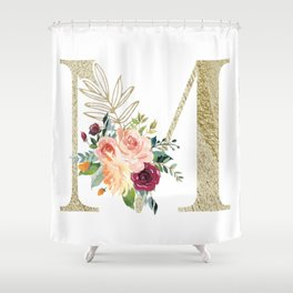 M Monogram Gold Foil Initial with Watercolor Flowers Shower Curtain