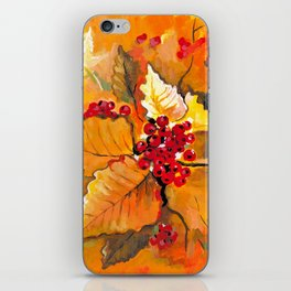 Autumn / Fall Painting - Berries and Changing Leaves Art iPhone Skin