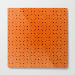 Bright Halloween Orange & Black Polka Dot Pattern Metal Print