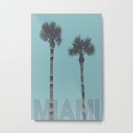 Graphic Art PALM TREES MIAMI | turquoise Metal Print