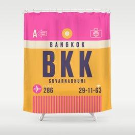Retro Airline Luggage Tag - BKK Bangkok Thailand Shower Curtain