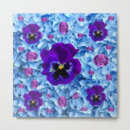 HYDRANGEAS FLORAL & PURPLE PANSIES AMETHYST GEMS Metal Print