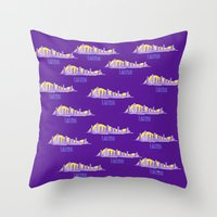 lakers Throw Pillows featuring LAKERS HAND-DRAWING DESIGN by SUNNY Design