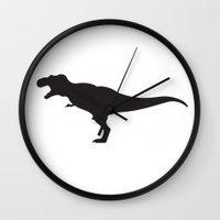 t rex Wall Clocks featuring T-rex by Katie Katherine Designs