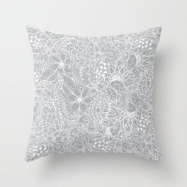 Modern trendy white floral lace hand drawn pattern on harbor mist grey Throw Pillow