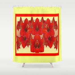 YELLOW CONTEMPORARY CLUSTER RED AMARYLLIS FLOWERS Shower Curtain