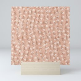 Elegant Pastel Pink Rose Gold Palm Tree Leaves Floral Mini Art Print