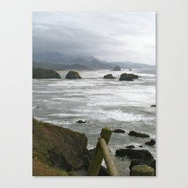 Stormy day at Cannon Beach Oregon  Canvas Print