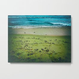 Vibrant view of the beach, the sea and the waves. Metal Print