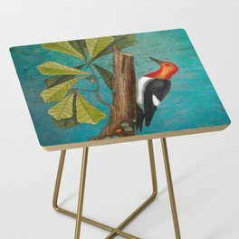 Red Headed Woodpecker with Oak, Natural History and Botanical collage Side Table