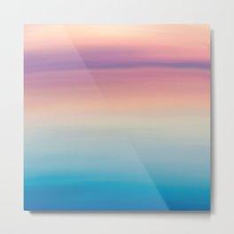 Modern watercolor navy blue pink sunset pattern Metal Print