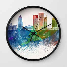 Portland V2 skyline in watercolor background Wall Clock
