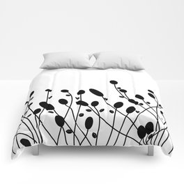 Abstract black flowers Comforters