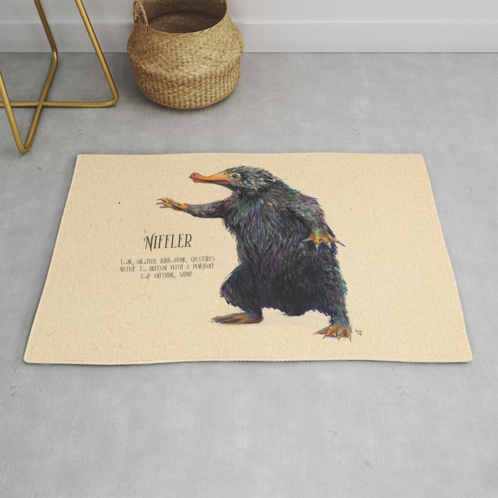 Niffler Art Fantastic Beasts Rug By Alextroi