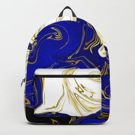 blue ,gold,rose,black,golden fractal, vibrations, circles modern pattern, Backpack