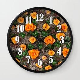 Orange Tea Rose Garden Wall Clock
