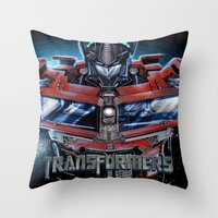 transformers Throw Pillows featuring Custom Transformers 4 design by ira gora