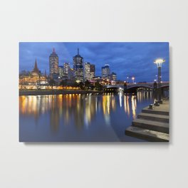 I - Skyline of Melbourne, Australia across the Yarra River at night Metal Print