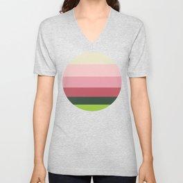 Pink & Green Colorful Geometric Pattern Unisex V-Neck