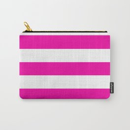Hollywood cerise - solid color - white stripes pattern Carry-All Pouch