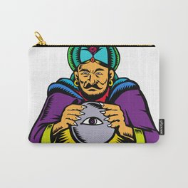 Fortune Teller With Crystal Ball Woodcut Carry-All Pouch